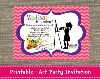 Chevron Art Party Invitation - DIY - Printable