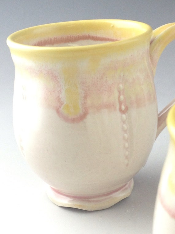 Handmade coffee mug, ceramic pretty pink.