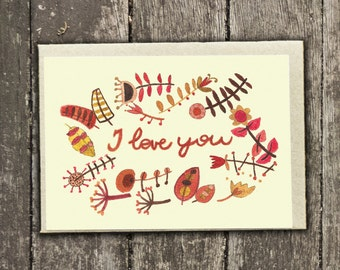I love you - Hand-painted Card