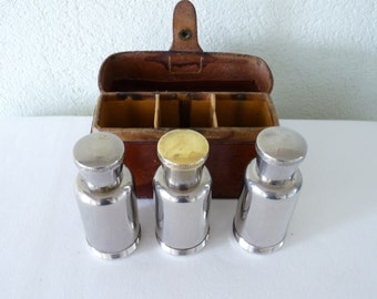 Antique Cologne Case, John Pound & Co Leather Three Bottle Cologne Case With Silver Plated Bottle Holders 1920