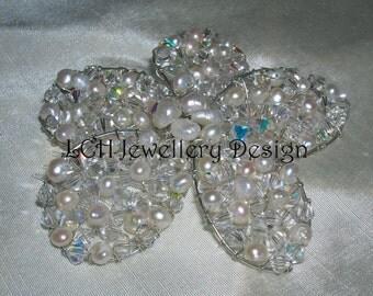 Bridal Headdress - Handmade Crystal & Pearl Bridal Flower Comb