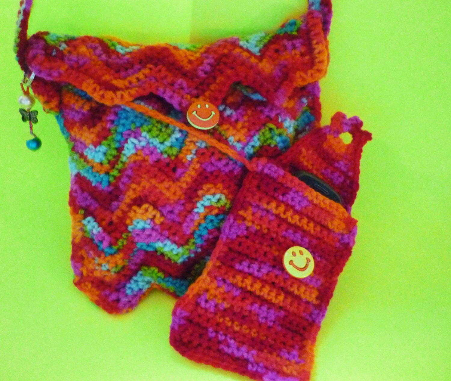Crochet Rainbow Bag : FREE SHIPPING. Crochet bag in rainbow colors. by Janevadesigns