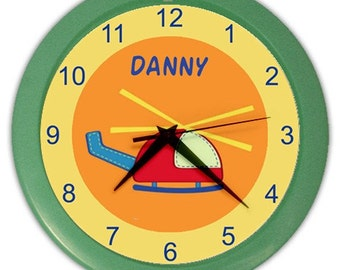 Baby Travel Helicopter Personalized Nursery Wall Clock