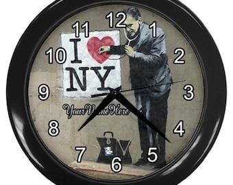 Personalized Banksy Street Art  Wall Clock