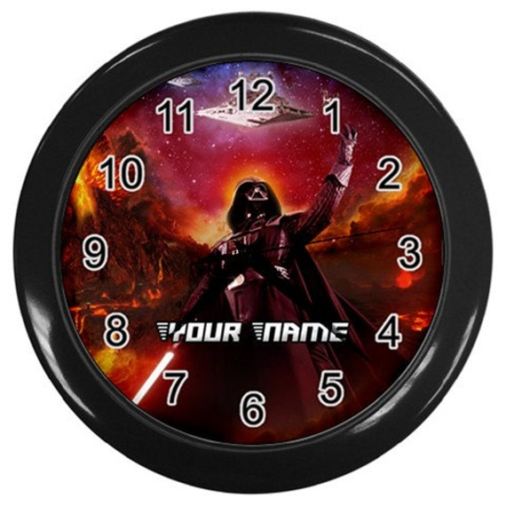 Personalised Star Wars Darth Vader Wall Clock Nursery Girl Or