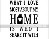 What I Love Most About My Home is Who I Share it With - Home Wall Decal - Love Wall Decal - Family Wall Quotes - Family Room Wall Decal