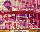 Valentine Day - Big Paper Set - clipart, digital paper