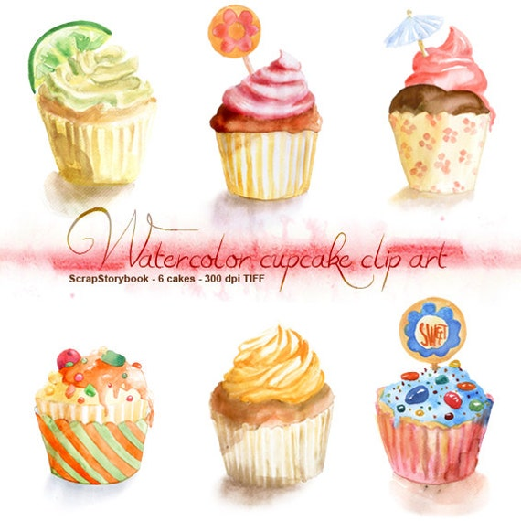 Watercolor Cake Clip Art : Watercolor Cupcake Clip Art digital printable item 300 dpi