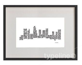 Los Angeles (LA) Skyline -California City Skyline - Typography - Print - 11x17