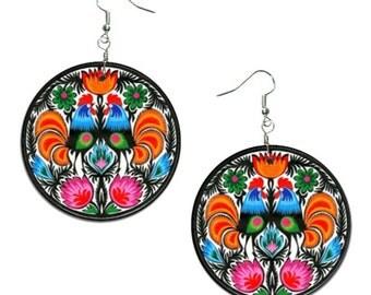 Folk - handmade earrings - decoupage, Folk Jewelry, Hypoallergenic Earrings