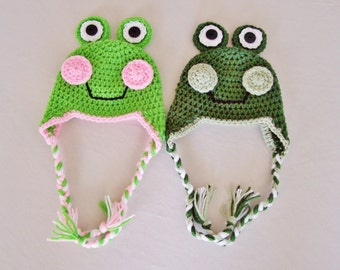 Baby Frog Laplander Hat - 0 to 3 Months, 3 to 6 Months, 6 to 12 Months - Green, Pink - Animal, Ribbit, Croak, Woodland
