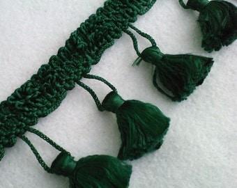 "Evergreen 1 1/2"" Tassel Fringe - Sold By The Yard - Green Tassels"