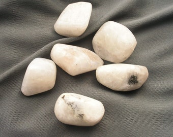 lot of 6 RAINBOW MOONSTONE pebbles, rocks, crystal, mineral, new age, metaphysical, magic