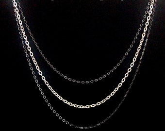 Three Tiered Silver and Gunmetal Necklace