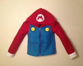 Nintendo Mario Bros. inspired fleece hoodie shirt