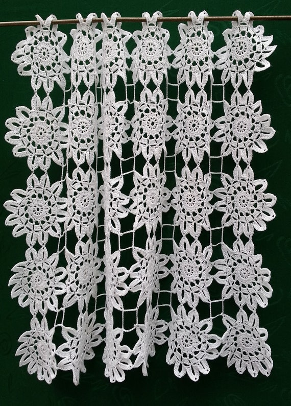 Crochet Flower Window Valance Pattern : White cotton Crocheted Window curtain FLOWERS or table by ...