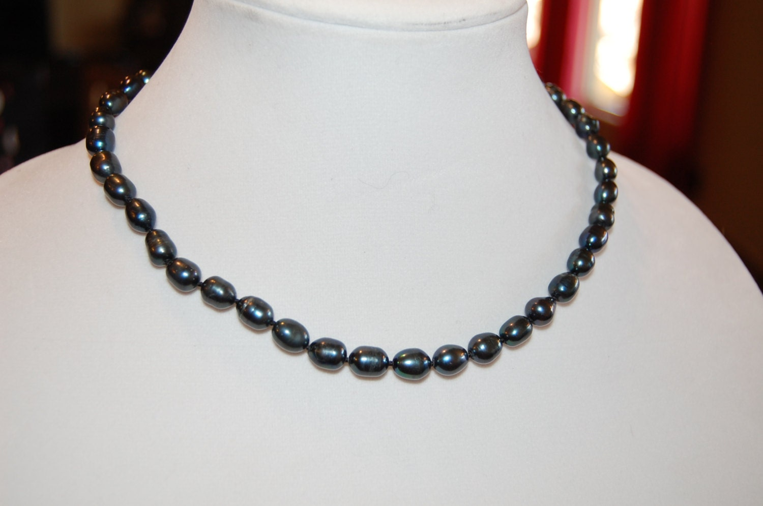 vintage nos black tahitian real pearl necklace strand with bag