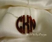 """Acrylic Monogram Necklace Personalized Custom Pendant 1.5"""" Circle Monogram Gift"""