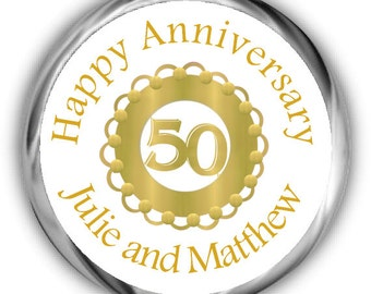 Gold Emblem Anniversary Hershey Kisses Stickers - 50th Anniversary Kiss Favors