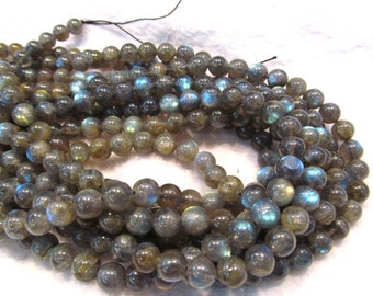 4 6 8 10 12mm full strand AAA GRADE genuine labradorite  bead round ball shiney blue jewelry beads