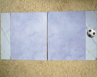 New- TWO 12 X 12 Pre-Made Scrapbook Pages SOCCER 4