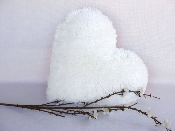 White Heart Decorative Pillow Faux Fur Cushion Wedding