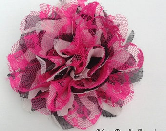 Zebra Pink and Black Chiffon Lace Flowers- Summer