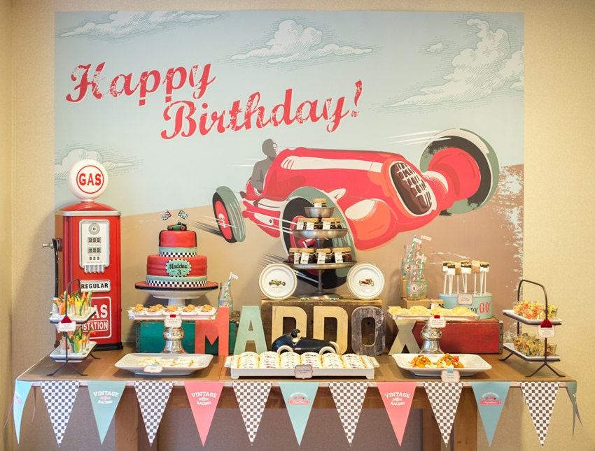 Race Car Birthday Party: Vintage Race Car Party Theme Printables