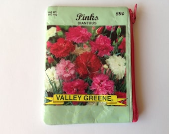 FREE SHIPPING to USA - Seed Packet Change Wallet -Upcycled Pinks Dianthus Seed Packet Coin Purse