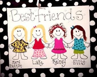 Personalized Best Friends Canvas Door hanger
