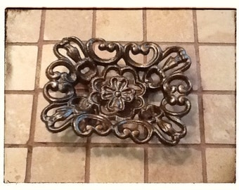 Soap Dish Business card Holder Cast Iron Antique Bronze Victorian Style