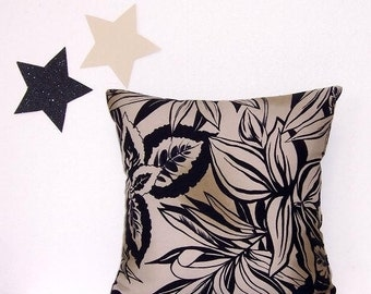 Tan Black Pillow Cover, 16x16 Decorative Sofa Pillow, Black Leaves Cushion Cover, Pillow Sham, Ritik, Throw Pillow