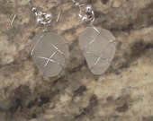 Cape Cod surf tumbled frosted beach sea glass earrings