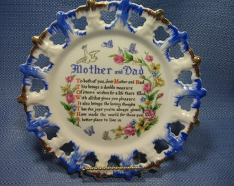 Vintage Mother and Dad Souvenir Plate gift with verse, wall hanging, Mother and Dad wall plate