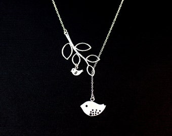 Mother Necklace, silver  Love Birds with Baby Bird Initial Charms, Personalized Necklace, Gift for Mom, Family Jewelry