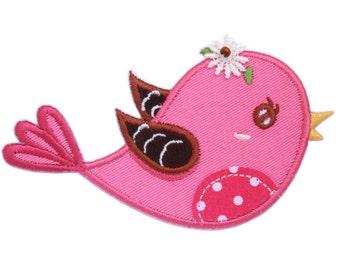 Pink Bird Iron-On Applique Patch - Kids / Baby