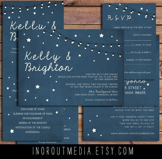 Wedding Invitation, Rustic Wedding Invitation, Navy Wedding Invitation, Blue Wedding Invitation, stars wedding invitation - Starry Nights