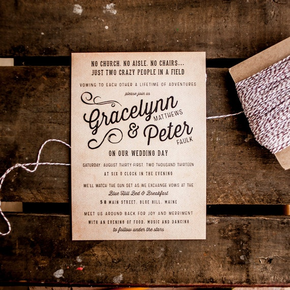 Rustic Wedding Invitation, Vintage Wedding Invitation - The Gracelynn - Vintage, Antique, casual wedding, unique, typography, wedding invite
