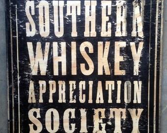 Whiskey Appreciation Society Wood Sign