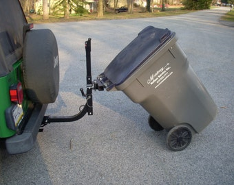 Home made steel Trash Can Hauler.  Attaches to any bike rack made with 2 inch square tubing.  Reduced Price!
