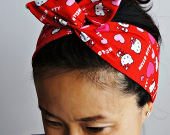 Hello Kitty Hearts Dolly Bow Headband/Inner Wired Headwrap/Red Hello Kitty Love Turband
