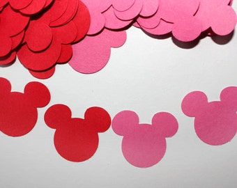 100 Minnie Mouse Birthday Confetti, Die Cuts, Minnie Mouse Cutouts, Birthday Party Supplies, Baby Shower, Pink Red, Valentine's Day