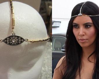 Three  Strand Crystal Evil Eye Gold Chain Head Piece Hair Headband Chain