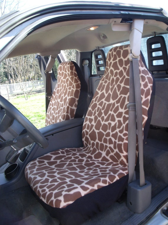 A Set of Large Giraffe Prints Seat Cover and Steering Wheel  Cover Custom Made