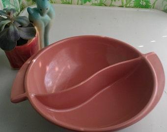 Boonton Melmac Split Serving Bowl Dark Pink Mauve Rose