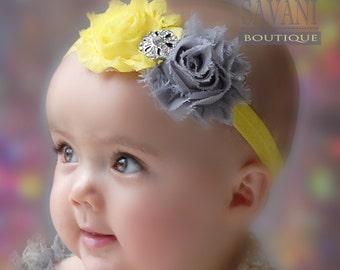 Yellow and gray headband, vintage headband, shabby chic roses headband, headband