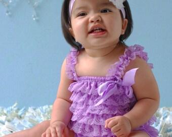 2 pieces lavender Petti Romper Set. Lace Petti Romper , headband and romper, Baby Girl Photo Prop