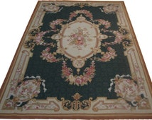 DESIGNER  Hand Knotted Wool Floral French Aubusson Area Rug 4 by 6