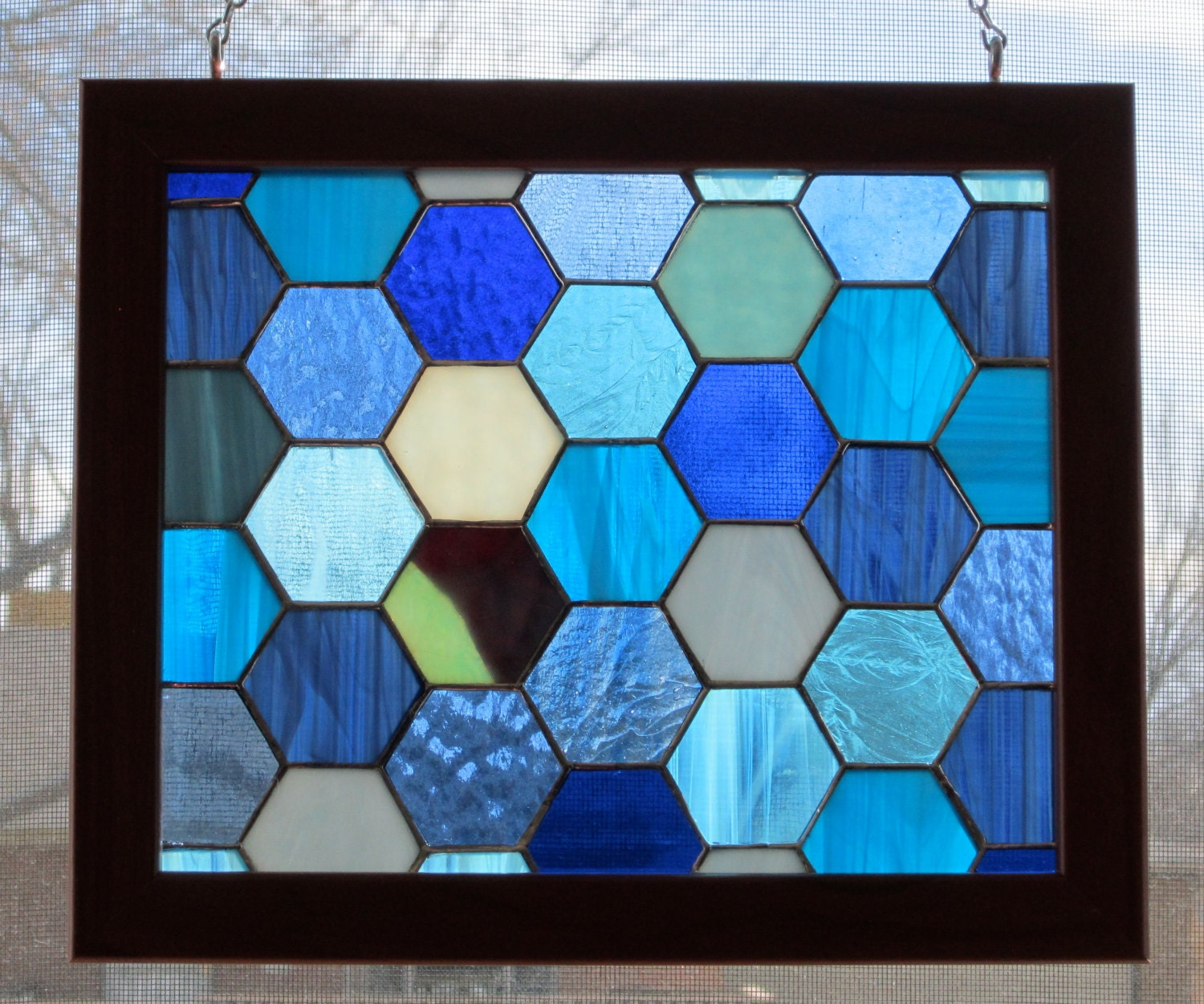 stained glass panel framed bountiful blues by mgconcepts
