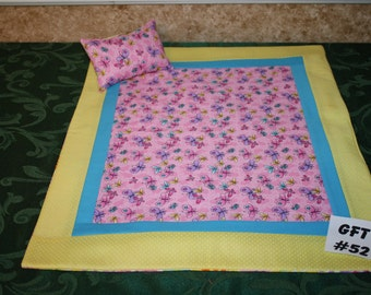 "Flying Bugs print, American Girl sized, reversible doll bed quilt 17"" x 21"" with matching pillow 4"" x 6"""
